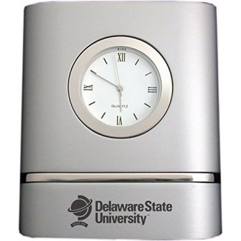 Delaware State University- Two-Toned Desk Clock -Silver