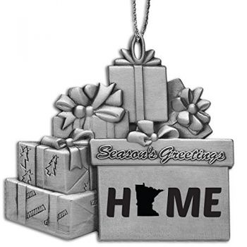 Minnesota-State Outline-Home-Pewter Gift Package Ornament-Silver