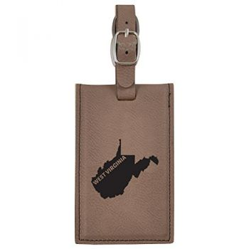 West Virginia-State Outline-Leatherette Luggage Tag -Brown