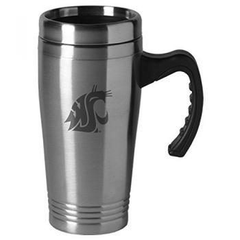 Washington State University-16 oz. Stainless Steel Mug-Silver