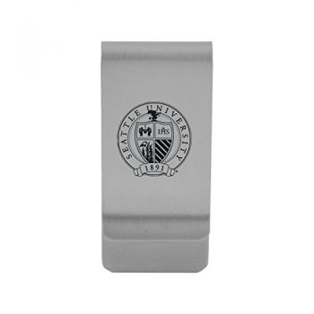 Seattle University|Money Clip with Contemporary Metals Finish|Solid Brass|High Tension Clip to Securely Hold Cash, Cards and ID's|Gold