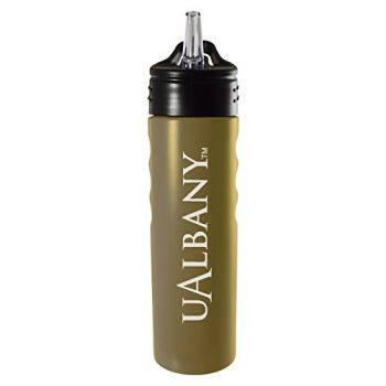 University at Albany, State University of New York-24oz. Stainless Steel Grip Water Bottle with Straw-Gold