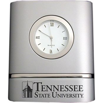 Tennessee State University- Two-Toned Desk Clock -Silver