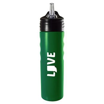 Indiana-State Outline-Love-Stainless Steel Grip Water Bottle with Straw-Green