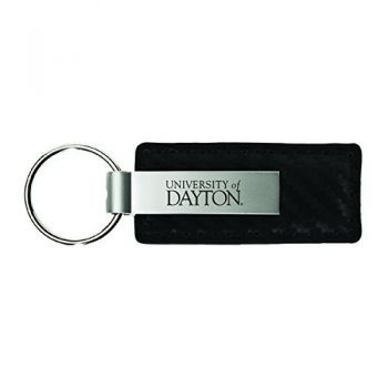 University of Dayton -Carbon Fiber Leather and Metal Key Tag-Black