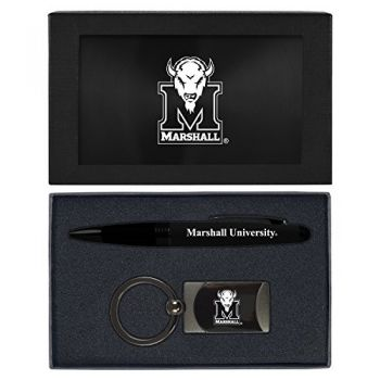 Marshall University -Executive Twist Action Ballpoint Pen Stylus and Gunmetal Key Tag Gift Set-Black