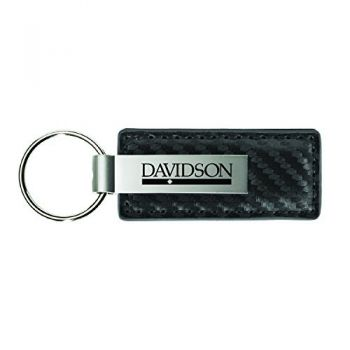Davidson College-Carbon Fiber Leather and Metal Key Tag-Grey