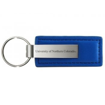 University of Northern Colorado - Leather and Metal Keychain - Blue