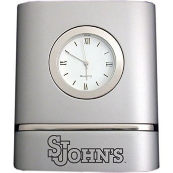 St. John's University- Two-Toned Desk Clock -Silver