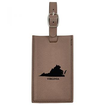 Virginia-State Outline-Leatherette Luggage Tag -Brown
