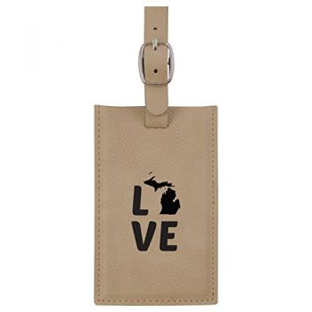 Michigan-State Outline-Love-Leatherette Luggage Tag -Tan