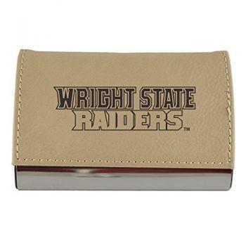 Velour Business Cardholder-Wright State university-Tan