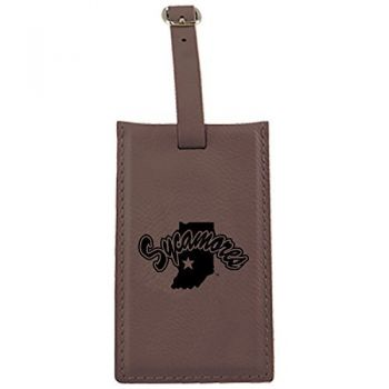 Indiana State University -Leatherette Luggage Tag-Brown