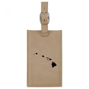 Hawaii-State Outline-Heart-Leatherette Luggage Tag -Tan
