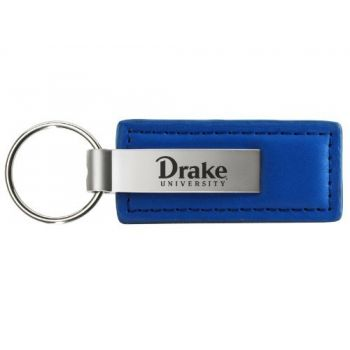Drake University - Leather and Metal Keychain - Blue