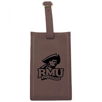 Robert Morris University -Leatherette Luggage Tag-Brown