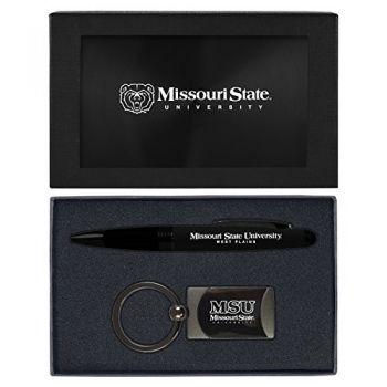 Missouri State University -Executive Twist Action Ballpoint Pen Stylus and Gunmetal Key Tag Gift Set-Black