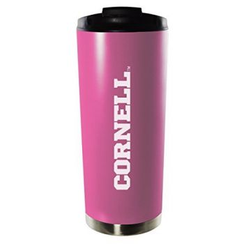 Cornell University-16oz. Stainless Steel Vacuum Insulated Travel Mug Tumbler-Pink