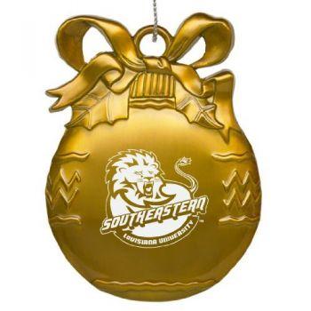 Southeastern Louisiana University - Pewter Christmas Tree Ornament - Gold