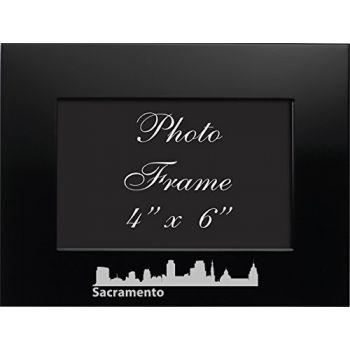 Sacramento, California-4x6 Brushed Metal Picture Frame-Black