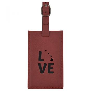 Hawaii-State Outline-Love-Leatherette Luggage Tag -Burgundy