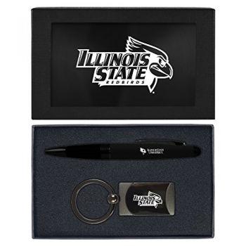 Illinois State University-Executive Twist Action Ballpoint Pen Stylus and Gunmetal Key Tag Gift Set-Black