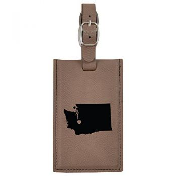 Washington-State Outline-Heart-Leatherette Luggage Tag -Brown