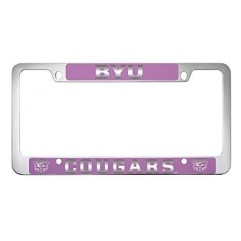 Brigham Young University -Metal License Plate Frame-Pink