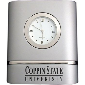 Coppin State University- Two-Toned Desk Clock -Silver