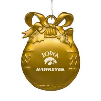 University of Iowa - Pewter Christmas Tree Ornament - Gold