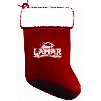 Lamar University - Chirstmas Holiday Stocking Ornament - Red