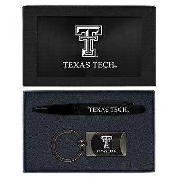 Texas Tech University -Executive Twist Action Ballpoint Pen Stylus and Gunmetal Key Tag Gift Set-Black
