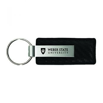 Weber State University-Carbon Fiber Leather and Metal Key Tag-Black