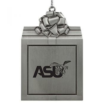 Alabama State University -Pewter Christmas Holiday Present Ornament-Silver