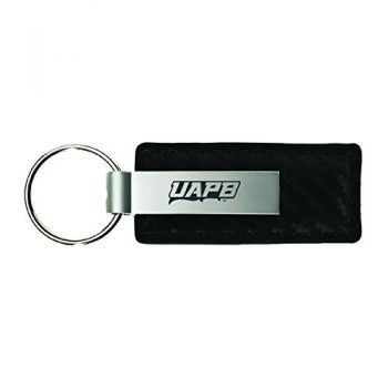 University of Arkansas at Pine Buff-Carbon Fiber Leather and Metal Key Tag-Black