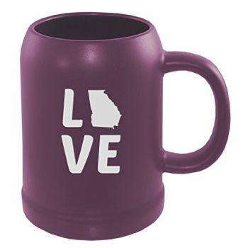 Georgia-State Outline-Love-22 oz. Stein Ceramic Coffee Mug-Purple