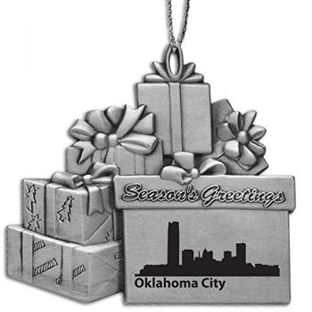 Pewter Gift Display Christmas Tree Ornament - Oklahoma City Skyline