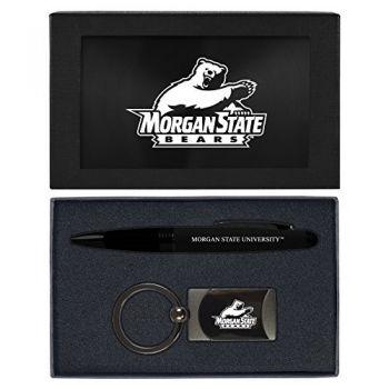 Morgan State University -Executive Twist Action Ballpoint Pen Stylus and Gunmetal Key Tag Gift Set-Black