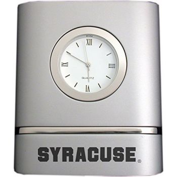 Syracuse University- Two-Toned Desk Clock -Silver