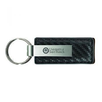 Stephen F. Austin State University-Carbon Fiber Leather and Metal Key Tag-Grey