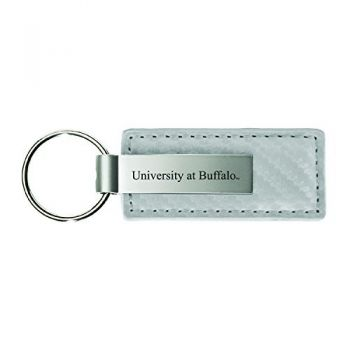 University of California, Davis-Carbon Fiber Leather and Metal Key Tag-White