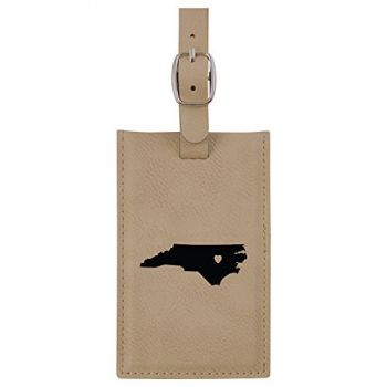 North Carolina-State Outline-Heart-Leatherette Luggage Tag -Tan