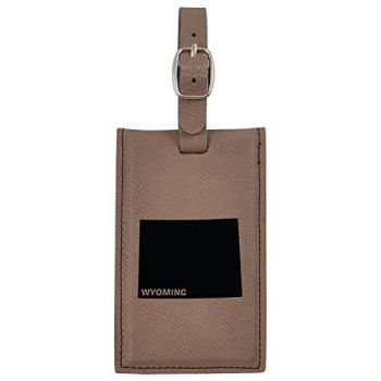 Wyoming-State Outline-Leatherette Luggage Tag -Brown