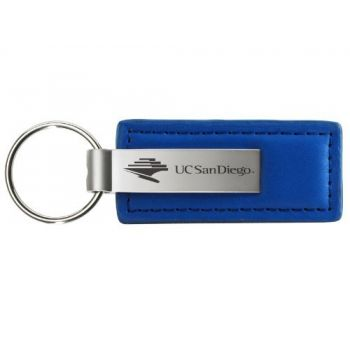 University of San Diego - Leather and Metal Keychain - Blue