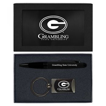 Grambling State University-Executive Twist Action Ballpoint Pen Stylus and Gunmetal Key Tag Gift Set-Black