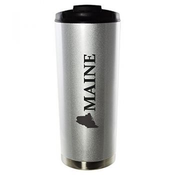 16 oz Vacuum Insulated Tumbler with Lid - Maine State Outline - Maine State Outline