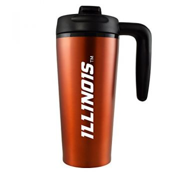 University of Illinois -16 oz. Travel Mug Tumbler with Handle-Orange