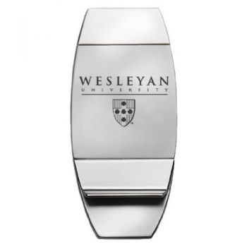 Wesleyan University - Two-Toned Money Clip - Silver