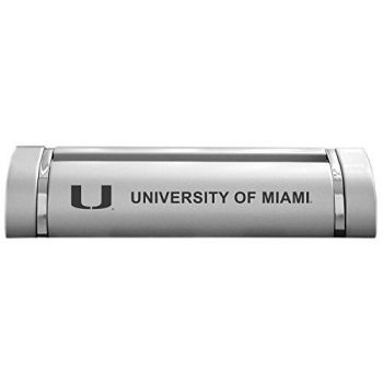University of Miami-Desk Business Card Holder -Silver