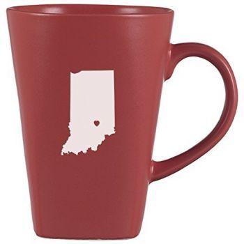 14 oz Square Ceramic Coffee Mug - I Heart Indiana - I Heart Indiana